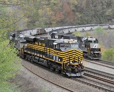NS Nickle Plate Heritage 8100 heads a coal empty back while 2 shove a loaded around Horseshoe Curve Southern Heritage, Norfolk Southern, Train Car, Train Tracks, Rail Train, Rail Transport, Railroad Photography, Train Times, Train Pictures