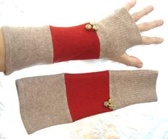 Brown and red fingerless gloves, Upcycled arm warmers, made from recycled wool sweaters via Etsy
