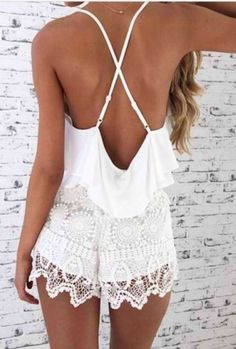 strappy back white lace romper boho summer Fashion Moda, Look Fashion, Street Fashion, Fashion Beauty, Womens Fashion, Fashion Trends, 90s Fashion, Hippy Fashion, Girl Fashion