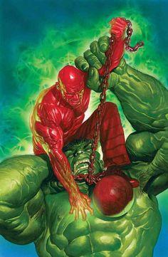 Hulk vs Absorbing Man, by Alex Ross Marvel Villains, Marvel Comics Art, Hulk Marvel, Marvel Comic Books, Marvel Heroes, Comic Books Art, Comic Art, Hulk Hulk, Hulk Avengers