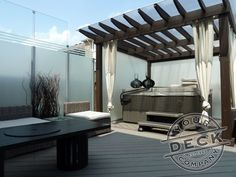 Toronto builder of fine custom decks, porches, and accessiores in TREX, Your Deck Company. Backyard Retreat, Backyard Pergola, Pergola Ideas, Backyard Ideas, Decorative Screens, Custom Decks, Privacy Screens, Outdoor Living Areas, Container Garden