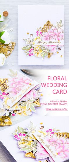 Looking for a beautiful handmade card for an upcoming wedding? Make one yourself using Altenew Peony Bouquet stamps. Visit http://www.yanasmakula.com/?p=54142 to learn more!