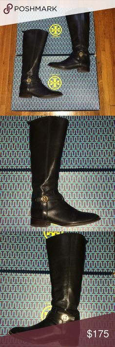 Tory Burch Bristol 30MM Leather Riding Boot Beautiful, authentic, and classy just below knee-length black leather riding boots from Tory Burch! The leather is premium and high quality. There are no scuffs and scratches that require any more than a polishing or buffing.  Soles are in great condition with no holes. Shoes will be sent in original box with dust bag. Tory Burch Shoes