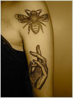 tattoo tattoos art design style bee animal picture image idea http://www.tattoo-designiart.com/animals-tattoos/bee-tattoo-design-20/