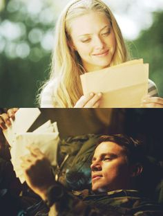 Incredibly moving story, written by Nicholas Sparks, characters John and Savannah played by Channing Tatum and Amanda Seyfried in the movie adaptation: Dear John. Cher John, Nicholas Sparks Movies, Movies And Series, Movie Couples, Military Love, Chick Flicks, Romantic Movies, Romantic Images, Film Serie