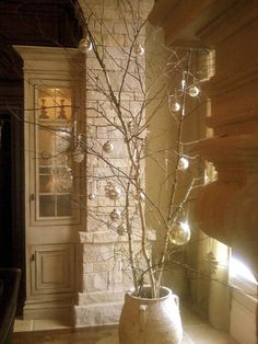 ... Christmas Decorating Ideas With Bald Tree And Silver Balls Ornaments
