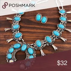 Silver & Turquoise Squash Blossom Necklace Brand new silver & turquoise squash blossom necklace & earring set. Tribal, Aztec, Navajo, Indian, Boho, gypsy, hippie, southwest, southern, rodeo, cowgirl style. Jewelry Necklaces