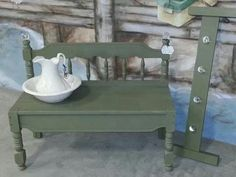 Upcycled bed bench with matching coat rack made with extras.