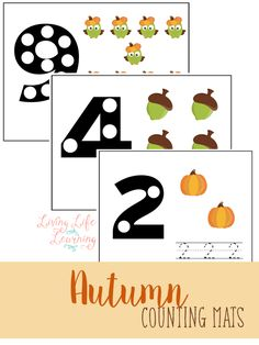 Practice counting with these cute autumn counting mats - free printables cards for preschool or kindergarten activity - can also be used to create fall theme crafts or game Free Preschool, Preschool Themes, Preschool Learning, Fun Learning, Preschool Activities, Learning Numbers, Autumn Activities For Kids, Printable Activities For Kids, Preschool Printables