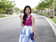 Blue & White Floral Midi Skirt // Women's Fashion