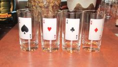 Bar Aces Poker Playing Cards Drinking Glasses Heart Diamond Spade Club Set of 4