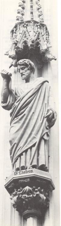Judas Thaddeus. - 1854/57. Beeldhouwwerk door J.T. van der Ven. Nederland, Den Bosch, St-Janskathedraal.