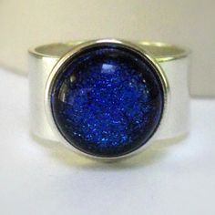 Blue and Silver Ring Aqua Blue Glass Ring Cobalt by pink80sgirl, $24.00