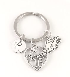 Silver Sweet 16 Keychain Personalized 16th Keychain by PSDPlanner
