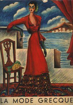"""Εξώφυλλο του περιοδικού «La Mode Greque», Aνοιξη-Καλοκαίρι 1940. Σύνολο του Γιάννη Ευαγγελίδη ζωγραφισμένο από τον Νίκο Εγγονόπουλο.  """"La mode Grecque"""" magazine cover, spring-summer 1940. Dress by Yannis Evangelides, painted by Nikos Engonopoulos"""