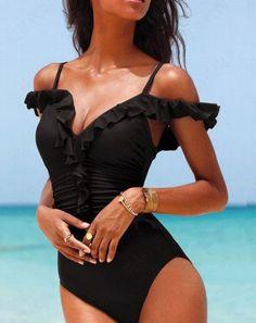 Sexy High Cut One Piece Swimwear Monokini Backless Beachwear Swimsuit Beach Bathing Suit Monokini Swimming Trikinis Bathing Suits One Piece, One Piece Swimwear, One Piece Swimsuit, Stuck, Black Swimsuit, Swimwear Fashion, Women Swimsuits, Body, Beachwear