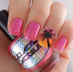 "Loaded Lacquer ""Tropical Moment"". Palm tree island nail art."