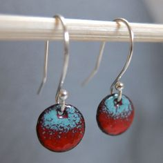 Petite Ombre Enamel Earrings, Red and Robin's Egg Blue Kiln Fired Glass Enamel, Sterling Silver Hooks, Small Dangle Earrings by marstinia on Etsy https://www.etsy.com/listing/161976202/petite-ombre-enamel-earrings-red-and