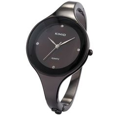 KIMIO Bling Fashion Crystal Women Lady Black Dail Stainless Steel Bracelet Quartz Watches KIM021 - Jewelry For Her