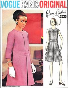 1960s PIERRE CARDIN  Elegant Dress Pattern VOGUE PARIS ORIGINAL 2025 Lovely Inverted Front pleat Dress Daytime or Cocktail Hour Bust 34 Vintage Sewing Pattern