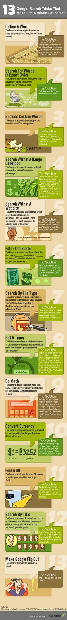 Una infografía con 13 simples trucos o tips que nos van a ayudar a que nuestras búsquedas en Google obtengan resultados más precisos.