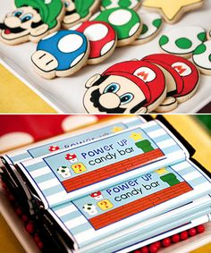super mario party sugar cookies and candy bars Super Mario Bros, Super Mario Birthday, Mario Birthday Party, Super Mario Party, 6th Birthday Parties, Boy Birthday, Birthday Games, Birthday Ideas, Yoshi