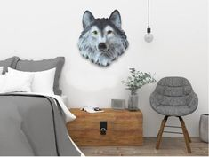 Wolf Head Decoration for Wall Rouse the Room Cheap Artwork, Modern Artwork, Wolf Sculpture, Window Wall Decor, Above Couch, Scandinavian Dining Chairs, Accent Chairs For Living Room, Dining Room, Grey Room
