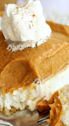 No Bake Double Layer Pumpkin Cheesecake  I make this with cook n serve pudding so it keeps firm longer.