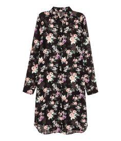 h&m, long chiffon shirt (black floral). size 2.