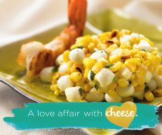 Grilled Corn and Shrimp with a Tre Stelle Bocconcini Pearl Salad Entree Recipes, Healthy Recipes, Grilled Shrimp, Shrimp Salads, Summer Salads, Serving Dishes, The Dish, Macaroni And Cheese, Seafood