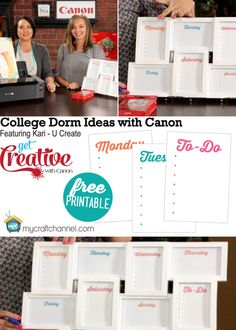 "Free Printable Dry Erasable ""To Do"" list and other Dorm Room Ideas!"