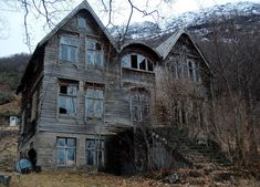 An abandoned house in snowy mountains. - Possible setting for a story in the series? Gives me chills looking at it.