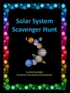Solar System Scavenger HuntThis scavenger hunt introduces students to information and fun factsabout the Solar System. Includes:20 scavenger hunt cards; solar system, planet, dwarf planet, sun, moons, asteroid, meteor, comet, Mercury, Venus, Earth, Mars, Jupiter, Saturn, Uranus, Neptune, inner planets, and outer planetsstudent worksheetsanswer key2 Compare and Contrast matrix pagesDirections for the Solar System Scavenger Hunt1.