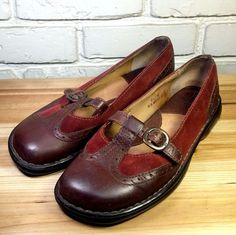 BORN Women's Shoes ~ Red Suede & Brown Leather T Strap Mary Janes ~ US 8.5 M/W #Born #MaryJanes