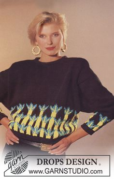 Drops Sweater in Paris with border on body and sleeves - Free pattern by DROPS Design