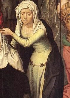 Waisted kirtle with chain overy belt  Hans Memling -passion alter 1491