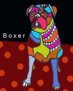 Boxer Art Dog Art PRINT Poster of Painting by HeatherGallerArt, $24.00