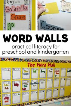 Word walls are a must for every preschool, kindergarten, or homeschool classroom! They're great to help children learn words. Kids are able to reference the words when writing, which gives students independence and problem solving skills.  The words are also a great reference when reading, allowing children to make connections to the books they read. Preschool Lesson Plans, Kindergarten Reading, Preschool Kindergarten, Teaching Reading, Preschool Teachers, Early Learning Activities, Rhyming Activities, Writing Activities, Reading Resources