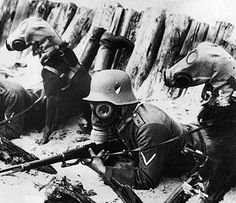 German soldier and dogs wearing gas masks in WWI.