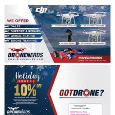 Design eye catching 6 x 11 postcard mailer for our drone company that people will remember. We sell drones and accessories. Our target audience is Male between 20 - 60 years of age.