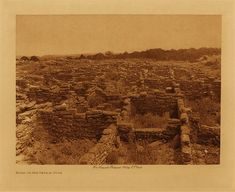 Ruins on the mesa at Puye - 1925 (The North American Indian by Edward S. Curtis)