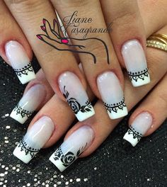 Black and white rose French tips. Why not accentuate your nails with the white base colors and black polish for the details of the roses. Nail Design Spring, Winter Nail Designs, Simple Nail Designs, Nail Art Designs, Winter Nail Art, Winter Nails, Summer Nails, Great Nails, Simple Nails