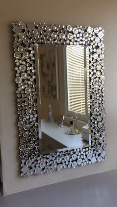 RICHTOP Wall Mirror Large Crystal Jewel Mosaic Framed Round Wall Mounted Mirrors Sun Burst Design Hung for Living Room, Bedroom, Hall, Hallway Mirror Crafts, Diy Mirror, Wall Mirror, Mirror Mosaic, Diy Home Decor Projects, Home Crafts, Wall Mounted Kitchen Shelves, Mirrored Bedroom Furniture, Dollar Tree Decor