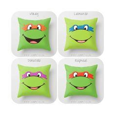 TMNT Teenage Mutant Ninja Turtles Throw Pillow 16x16 Decorative Cover Pop Culture Television Show Gift Him Fun Green Movie Cartoon Orange by CanisPicta on Etsy