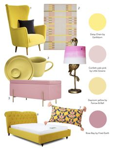 Interior designer and colour queen Sophie Robinson continues her colour crush feature and this time looks combining pink and yellow Storage Ottoman Bench, Upholstered Ottoman, Yellow Ottoman, Yellow Bedroom Accessories, Sophie Robinson, Interior Rugs, Pink Bedrooms, Pink Sofa, Pink Kids