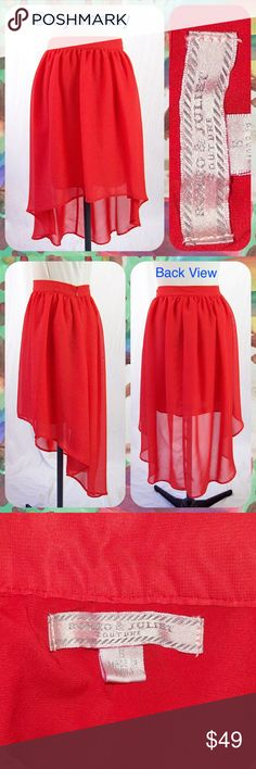 "Reddish Hi-Lo Pleated Chiffon Skirt Size S or 2/4 Beautiful hi-lo chiffon skirt from Romeo & Juliet Couture in a reddish-orange color with gentle pleating. Fully lined. Hidden side zip closure. Polyester. Size Small or 2/4. Measures 26"" around the waist. Length: 19.5"" in the front and 32"" in the back. Very pretty! Romeo & Juliet Couture Skirts High Low"