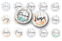 These 1 inch circle bottle cap images with the words Dream, Hope, Pray and other inspirational words are in a lovely font and weathered wreaths. This digital collage sheet can be used for a variety of crafts