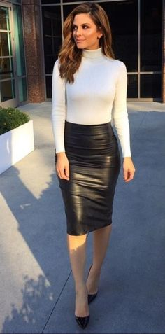 Leather Pencil Skirt , Sweater, and Heels Black leather pencil skirt 34 Fall Business Attire! Leather Pencil Skirt , Sweater, and Heels Black leather pencil skirt Fall Business Attire, Business Attire For Young Women, Business Dress Code, Business Skirts, Long Leather Skirt, Black Leather Pencil Skirt, Black Leather Skirt Outfits, Long Black Skirt Outfit, Sexy Outfits