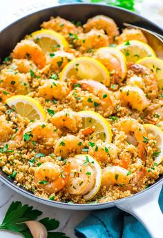 One pan Garlic Shrimp with Quinoa — Easy, quick, and delicious! Made with fresh lemon and garlic. Not too spicy with lots of flavor.