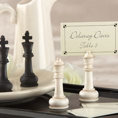 Chess Piece Place Card Holders by Beau-coup -  My Baby Loves Chess. This would be cool.